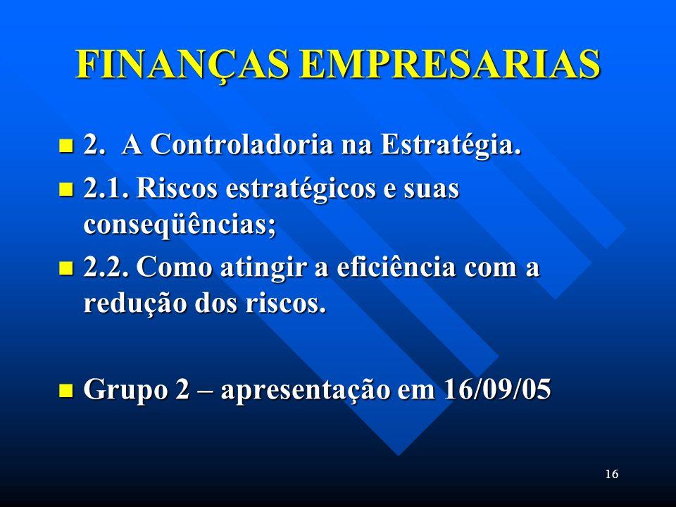 16 FINANÇAS EMPRESARIAS 2. A Controladoria na Estratégia. 2. A Controladoria na Estratégia. 2.1. Riscos estratégicos e suas conseqüências; 2.1. Riscos