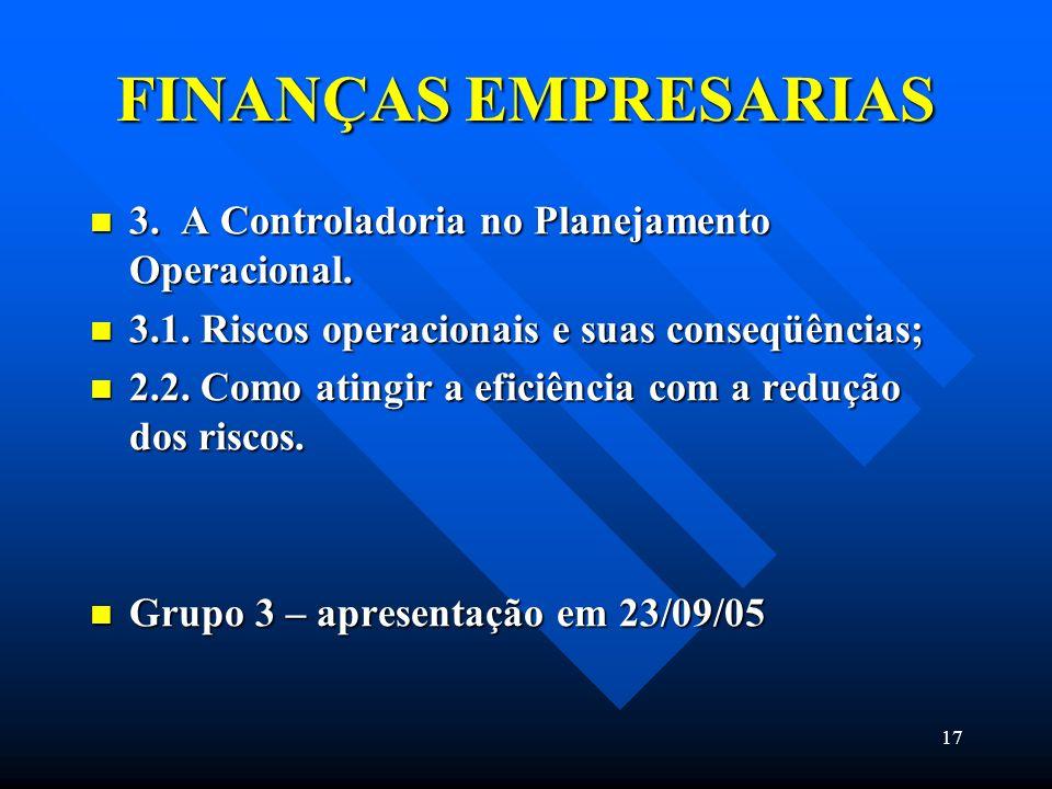 17 FINANÇAS EMPRESARIAS 3. A Controladoria no Planejamento Operacional. 3. A Controladoria no Planejamento Operacional. 3.1. Riscos operacionais e sua