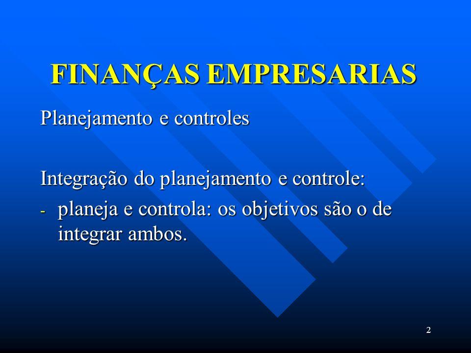 2 FINANÇAS EMPRESARIAS Planejamento e controles Integração do planejamento e controle: - planeja e controla: os objetivos são o de integrar ambos.