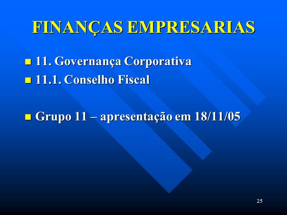 25 FINANÇAS EMPRESARIAS 11. Governança Corporativa 11. Governança Corporativa 11.1. Conselho Fiscal 11.1. Conselho Fiscal Grupo 11 – apresentação em 1
