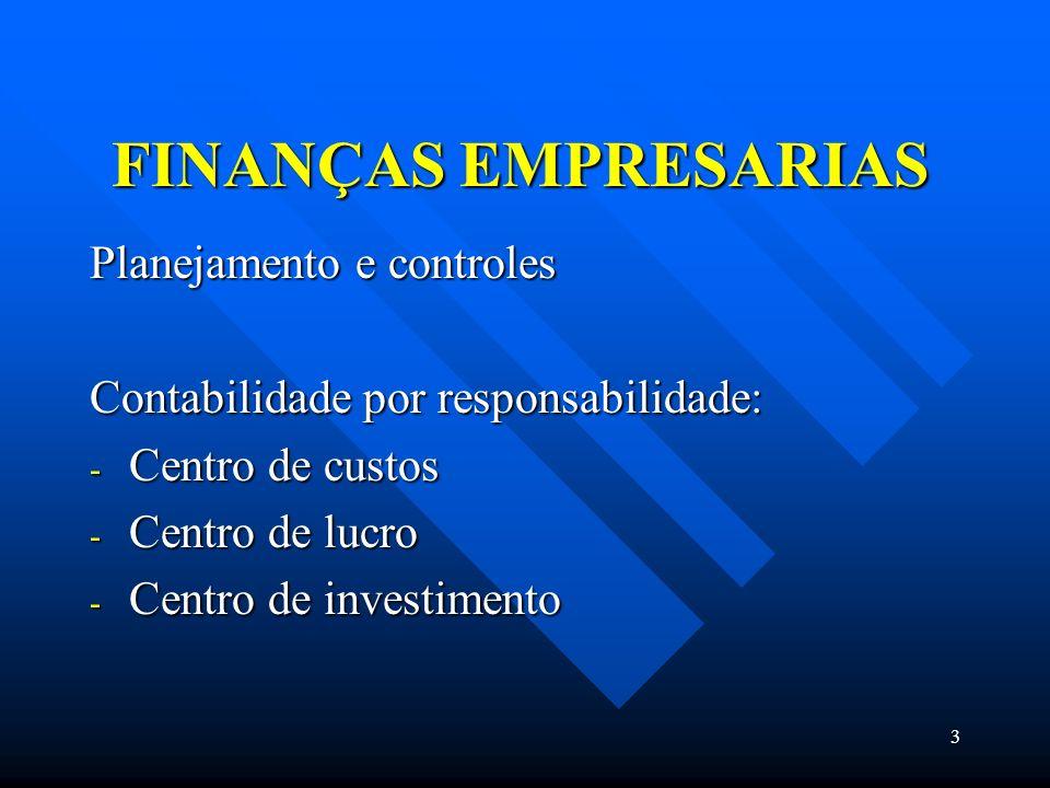 3 FINANÇAS EMPRESARIAS Planejamento e controles Contabilidade por responsabilidade: - Centro de custos - Centro de lucro - Centro de investimento