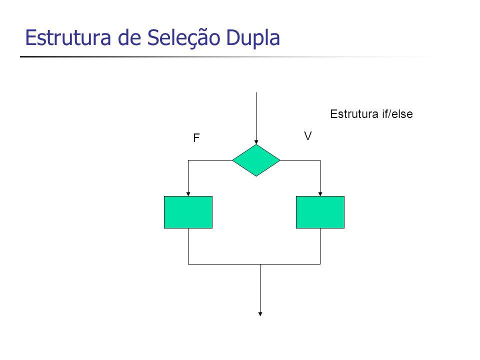 Estrutura de Seleção Dupla V F Estrutura if/else