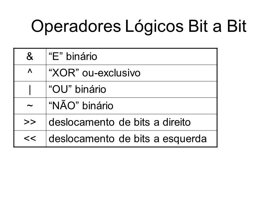 Operadores Lógicos Bit a Bit &E binário ^XOR ou-exclusivo  OU binário ~NÃO binário >>deslocamento de bits a direito <<deslocamento de bits a esquerda