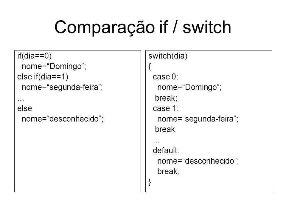 Comparação if / switch if(dia==0) nome=Domingo; else if(dia==1) nome=segunda-feira;... else nome=desconhecido; switch(dia) { case 0: nome=Domingo; bre
