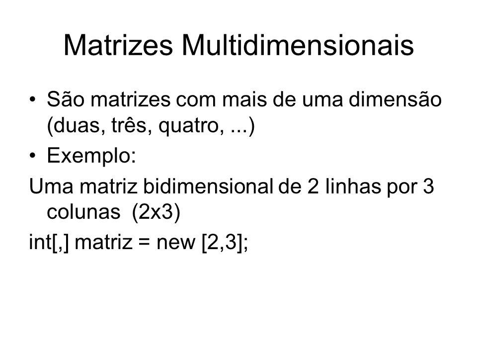 Matrizes Multidimensionais São matrizes com mais de uma dimensão (duas, três, quatro,...) Exemplo: Uma matriz bidimensional de 2 linhas por 3 colunas
