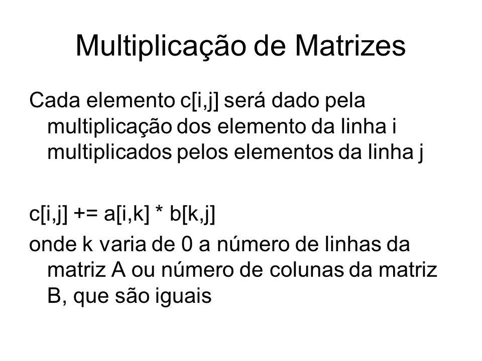 Multiplicação de Matrizes Cada elemento c[i,j] será dado pela multiplicação dos elemento da linha i multiplicados pelos elementos da linha j c[i,j] +=