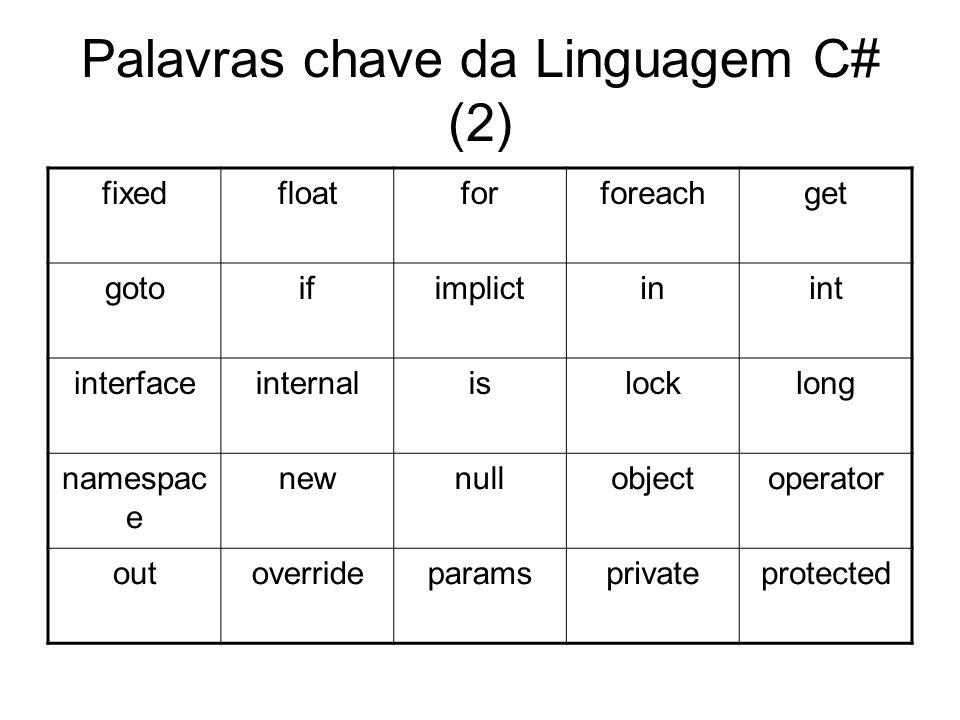 Palavras chave da Linguagem C# (2) fixedfloatforforeachget gotoifimplictinint interfaceinternalislocklong namespac e newnullobjectoperator outoverride