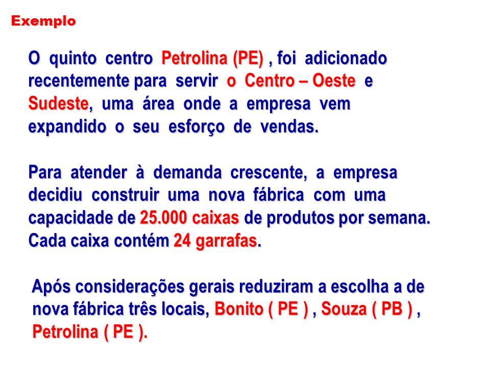 Exemplo O quinto centro Petrolina (PE), foi adicionado O quinto centro Petrolina (PE), foi adicionado recentemente para servir o Centro – Oeste e rece