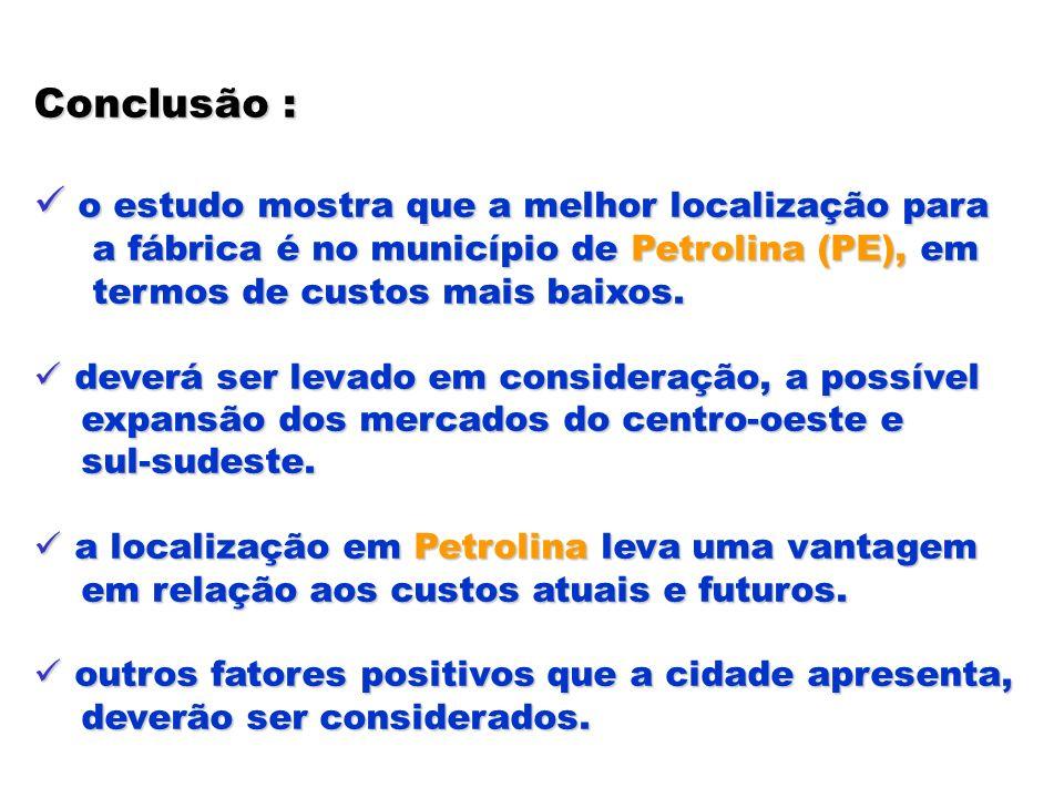 Conclusão : o estudo mostra que a melhor localização para o estudo mostra que a melhor localização para a fábrica é no município de Petrolina (PE), em