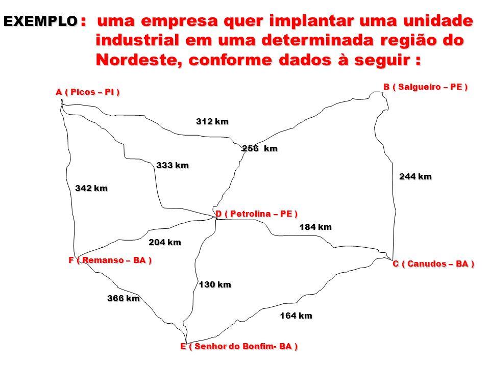 EXEMPLO : uma empresa quer implantar uma unidade industrial em uma determinada região do industrial em uma determinada região do Nordeste, conforme da