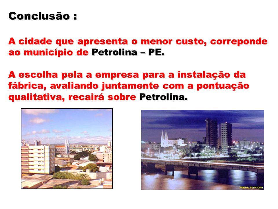 Conclusão : A cidade que apresenta o menor custo, correponde ao município de Petrolina – PE. A escolha pela a empresa para a instalação da fábrica, av