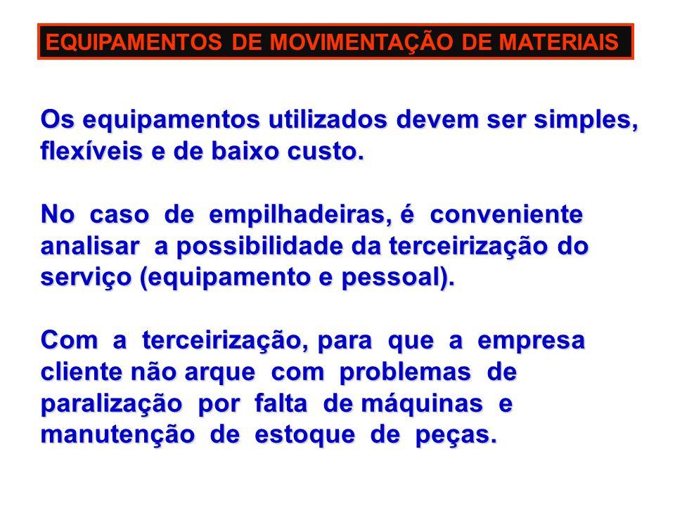 EQUIPAMENTOS DE MOVIMENTAÇÃO DE MATERIAIS Os equipamentos utilizados devem ser simples, Os equipamentos utilizados devem ser simples, flexíveis e de b