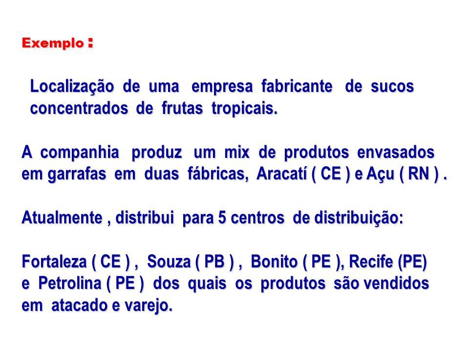 Das fábricas Para CDs Aracati(CE)Açu(RN) Petrolina (PE) Demanda Fortaleza 13,62 13,625 13,54 13,5410 17,14 17,14 15.000 15.000 Souza 14,96 14,96 13,92 13,92 12,80 12,8010 10.000 10.000 Bonito 16,76 16,763 15,20 15,2010 14,72 14,72 13.000 13.000 Recife 16,11 16,1120 15,35 15,35 14,87 14,87 20.000 20.000 Petrolina 17,53 17,53 14,29 14,29 12,46 12,4615 15.000 15.000 (CAIXAS) Tabela 4 – ( custos de distribuição mais custos de produção )