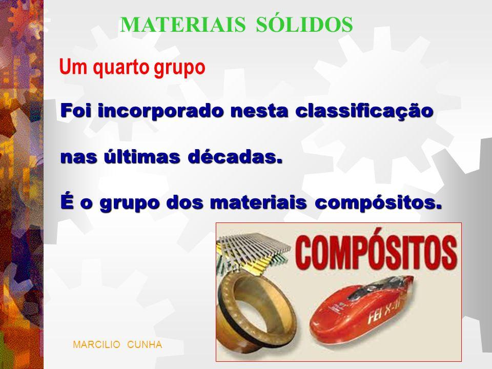 MATERIAIS SÓLIDOS Um quarto grupo Foi incorporado nesta classificação nas últimas décadas. É o grupo dos materiais compósitos. MARCILIO CUNHA