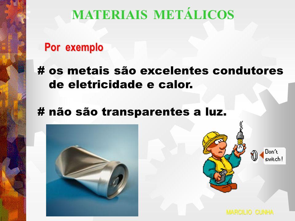 Por exemplo # os metais são excelentes condutores de eletricidade e calor. de eletricidade e calor. # não são transparentes a luz. MARCILIO CUNHA MATE