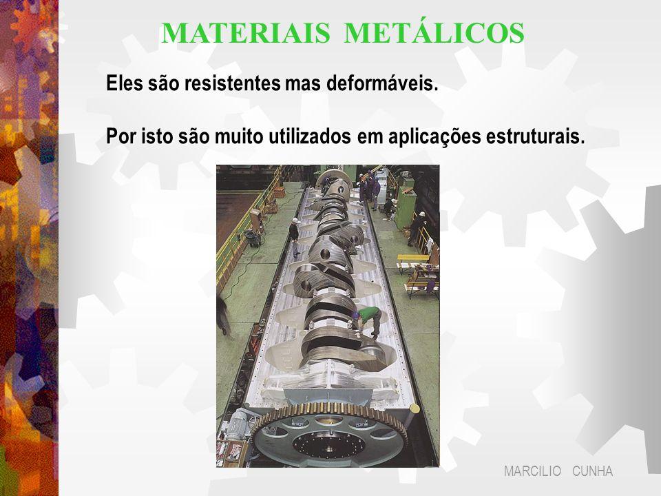 Eles são resistentes mas deformáveis. Por isto são muito utilizados em aplicações estruturais. MARCILIO CUNHA MATERIAIS METÁLICOS