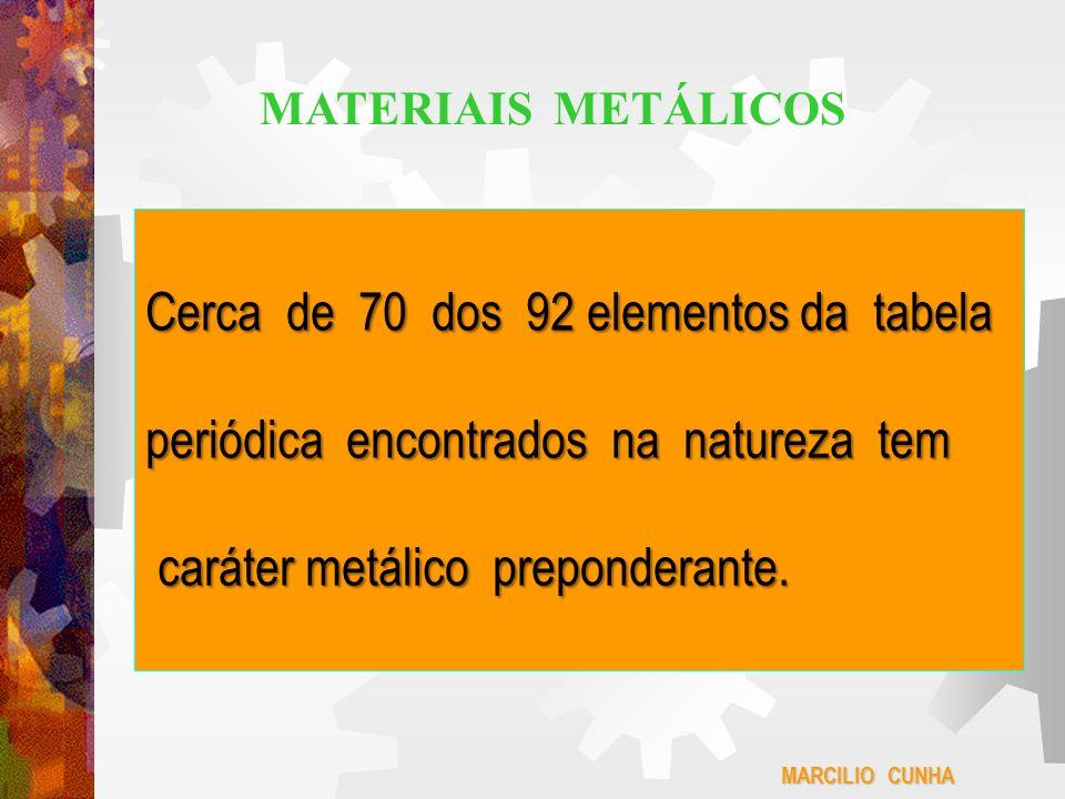 Cerca de 70 dos 92 elementos da tabela periódica encontrados na natureza tem caráter metálico preponderante. caráter metálico preponderante. MARCILIO