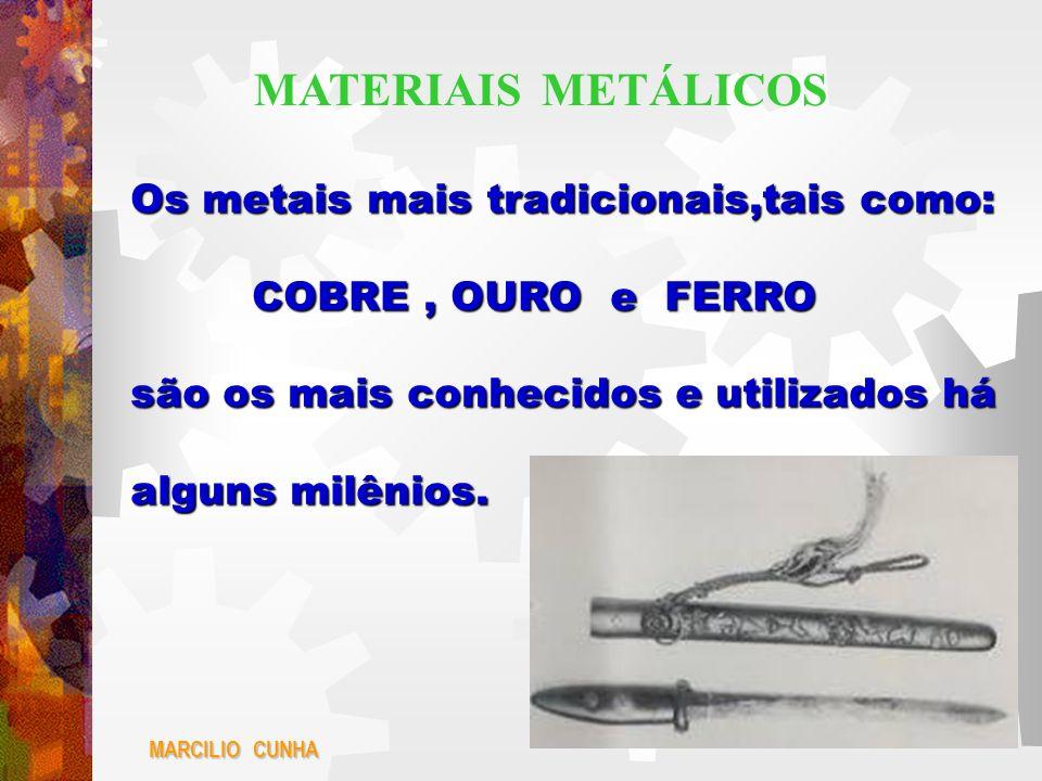 Os metais mais tradicionais,tais como: COBRE, OURO e FERRO COBRE, OURO e FERRO são os mais conhecidos e utilizados há alguns milênios. MARCILIO CUNHA