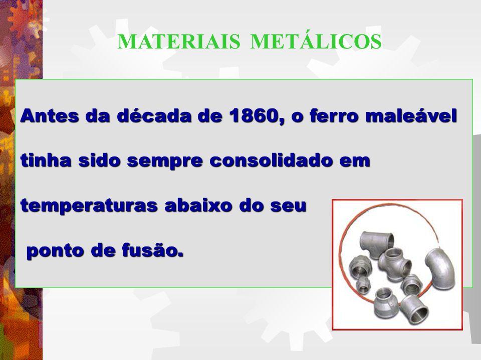 Antes da década de 1860, o ferro maleável tinha sido sempre consolidado em temperaturas abaixo do seu ponto de fusão. ponto de fusão. MATERIAIS METÁLI