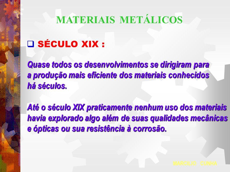 SÉCULO XIX : Quase todos os desenvolvimentos se dirigiram para a produção mais eficiente dos materiais conhecidos há séculos. Até o século XIX pratica