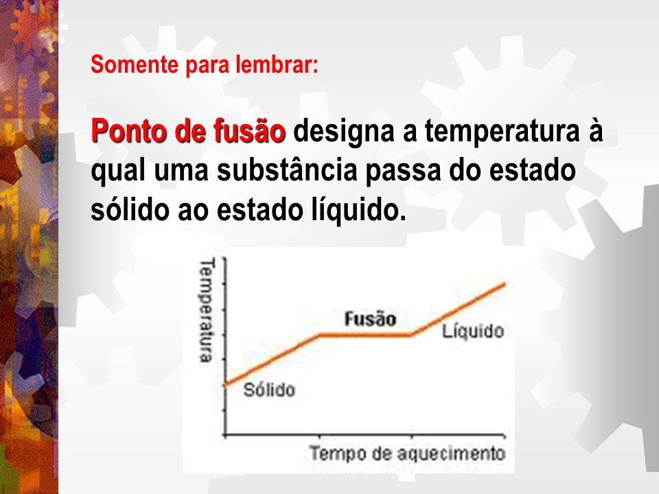 Somente para lembrar: Ponto de fusão designa a temperatura à qual uma substância passa do estado sólido ao estado líquido.