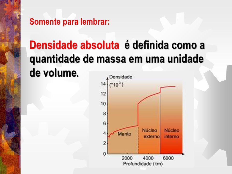 Somente para lembrar: Densidade absoluta é definida como a quantidade de massa em uma unidade de volume.