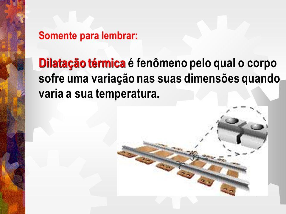 Somente para lembrar: Dilatação térmica é fenômeno pelo qual o corpo sofre uma variação nas suas dimensões quando varia a sua temperatura.