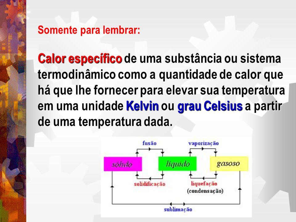 Somente para lembrar: Calor específico de uma substância ou sistema termodinâmico como a quantidade de calor que há que lhe fornecer para elevar sua t