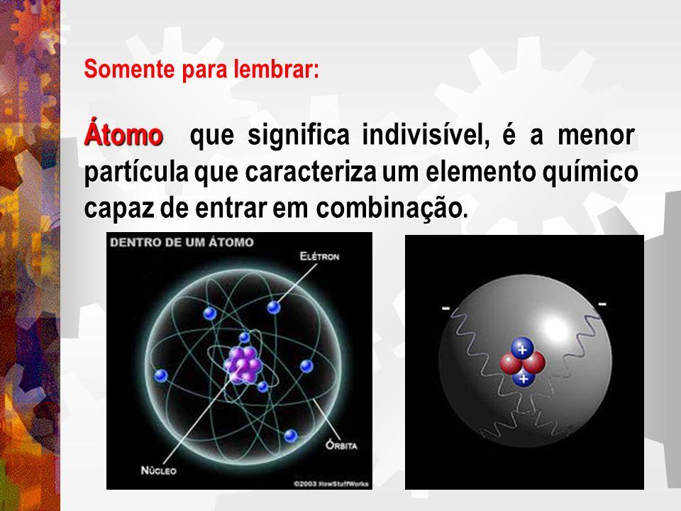 Somente para lembrar: Átomo que significa indivisível, é a menor partícula que caracteriza um elemento químico capaz de entrar em combinação capaz de
