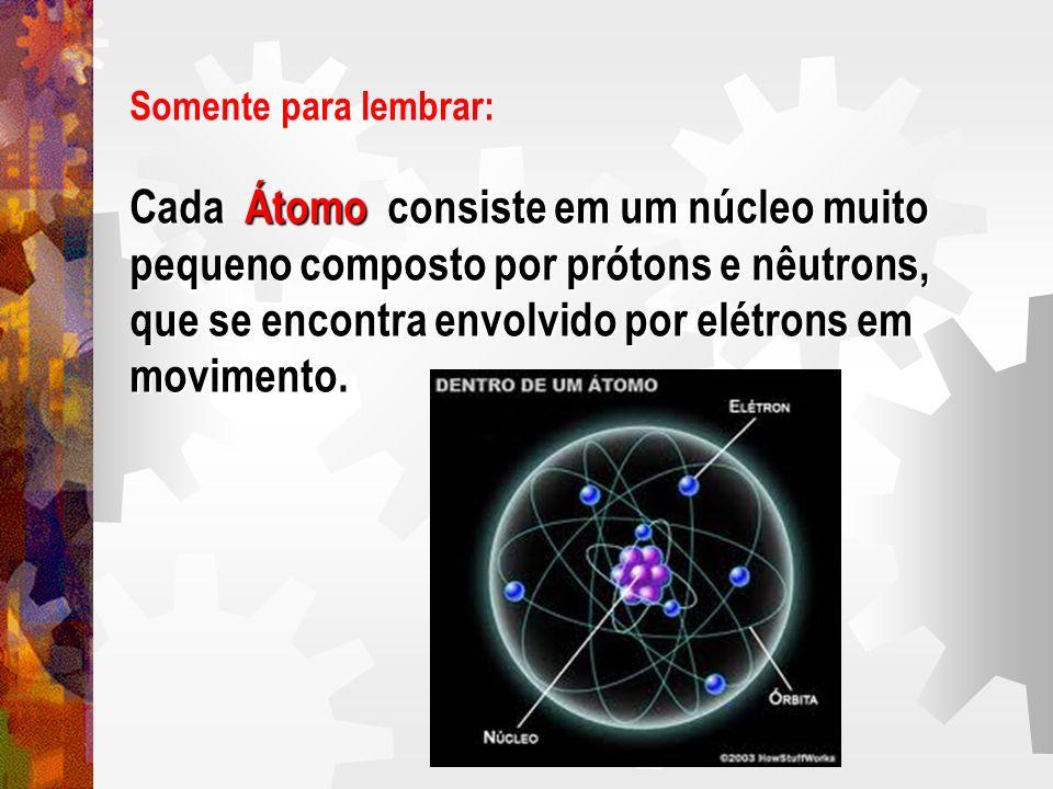 Somente para lembrar: Cada Átomo consiste em um núcleo muito pequeno composto por prótons e nêutrons, que se encontra envolvido por elétrons em movime