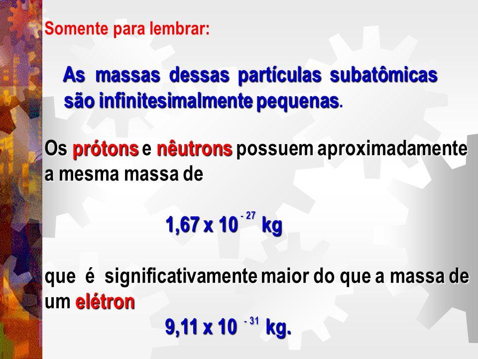 Somente para lembrar: As massas dessas partículas subatômicas As massas dessas partículas subatômicas são infinitesimalmente pequenas são infinitesima