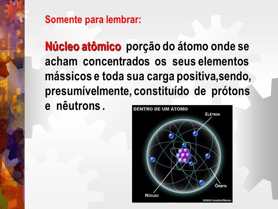 Somente para lembrar: Núcleo atômico porção do átomo onde se acham concentrados os seus elementos mássicos e toda sua carga positiva,sendo, presumível
