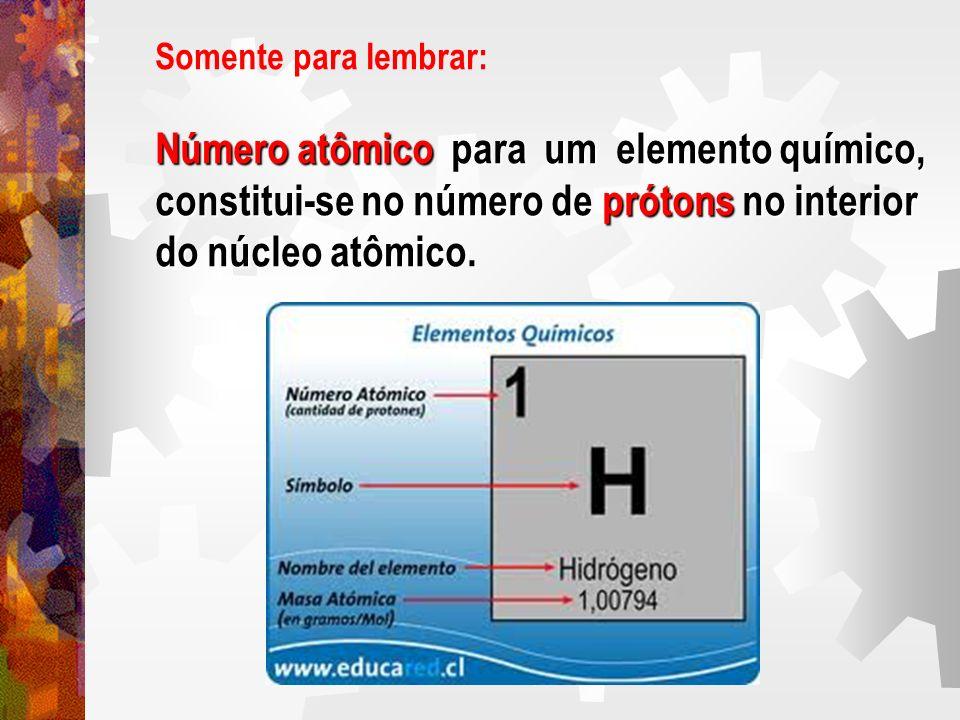 Somente para lembrar: Número atômico para um elemento químico, constitui-se no número de prótons no interior do núcleo atômico.