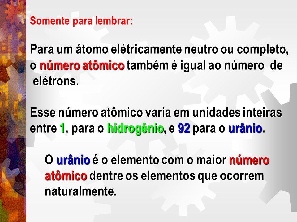 Somente para lembrar: Para um átomo elétricamente neutro ou completo, o número atômico também é igual ao número de elétrons. elétrons. Esse número atô