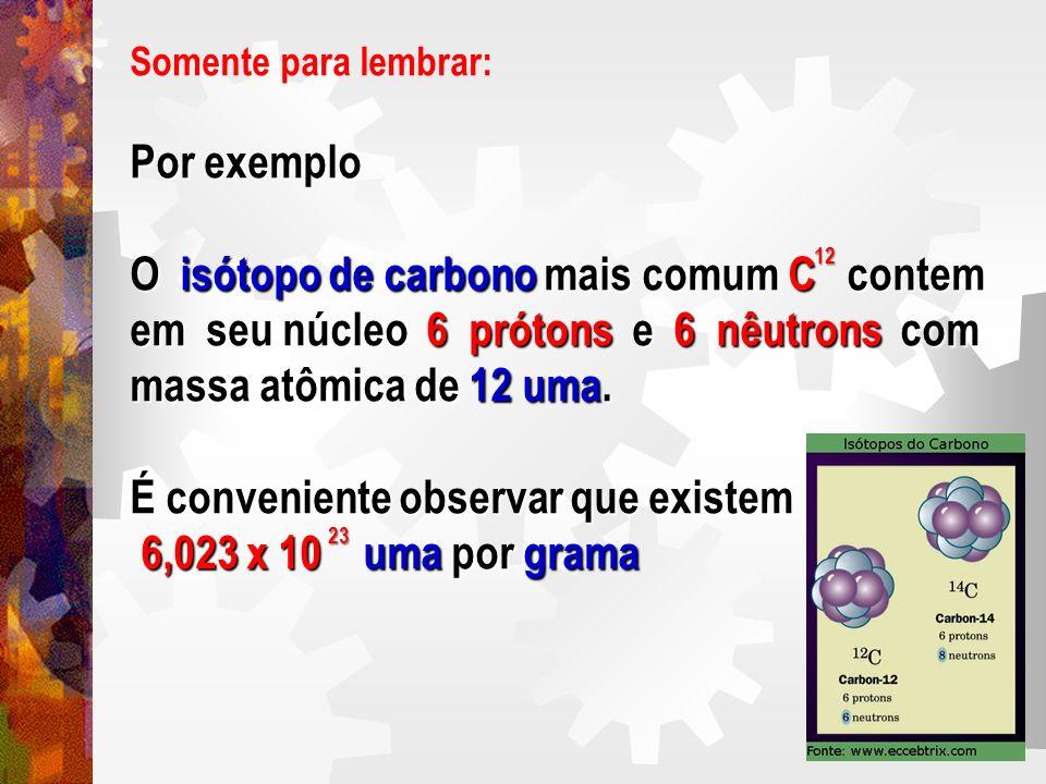 Somente para lembrar: Por exemplo O isótopo de carbono mais comum C contem em seu núcleo 6 prótons e 6 nêutrons com massa atômica de 12 uma. É conveni