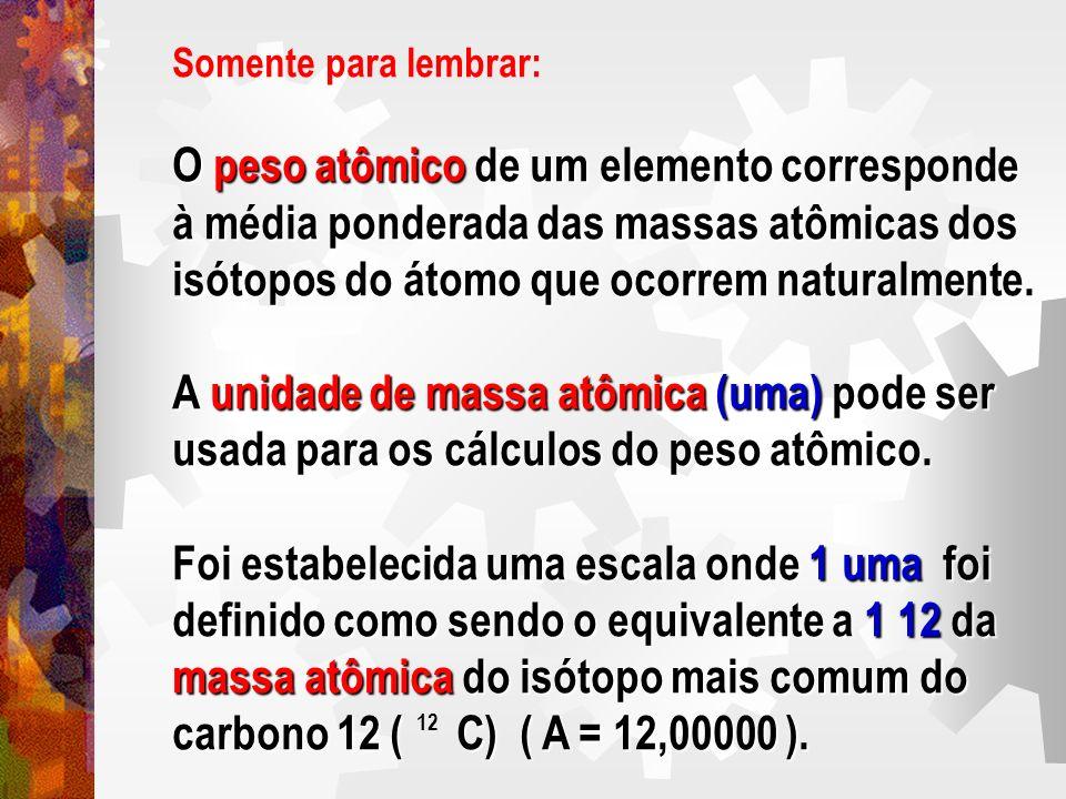 Somente para lembrar: O peso atômico de um elemento corresponde à média ponderada das massas atômicas dos isótopos do átomo que ocorrem naturalmente.