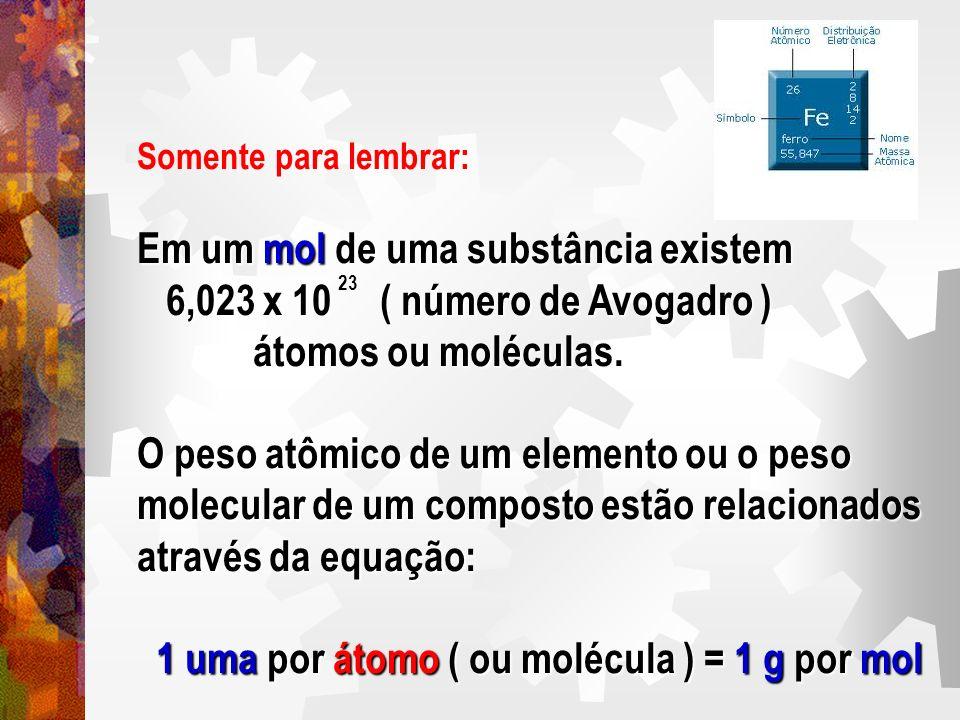 Somente para lembrar: Em um mol de uma substância existem 6,023 x 10 ( número de Avogadro ) 6,023 x 10 ( número de Avogadro ) átomos ou moléculas. áto