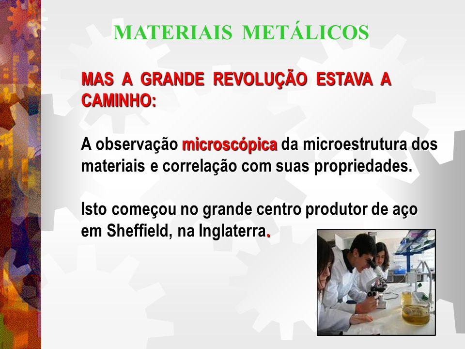 MAS A GRANDE REVOLUÇÃO ESTAVA A CAMINHO: A observação microscópica da microestrutura dos materiais e correlação com suas propriedades. Isto começou no