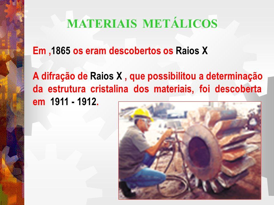 1865Raios X Em,1865 os eram descobertos os Raios X Raios X A difração de Raios X, que possibilitou a determinação da estrutura cristalina dos materiai