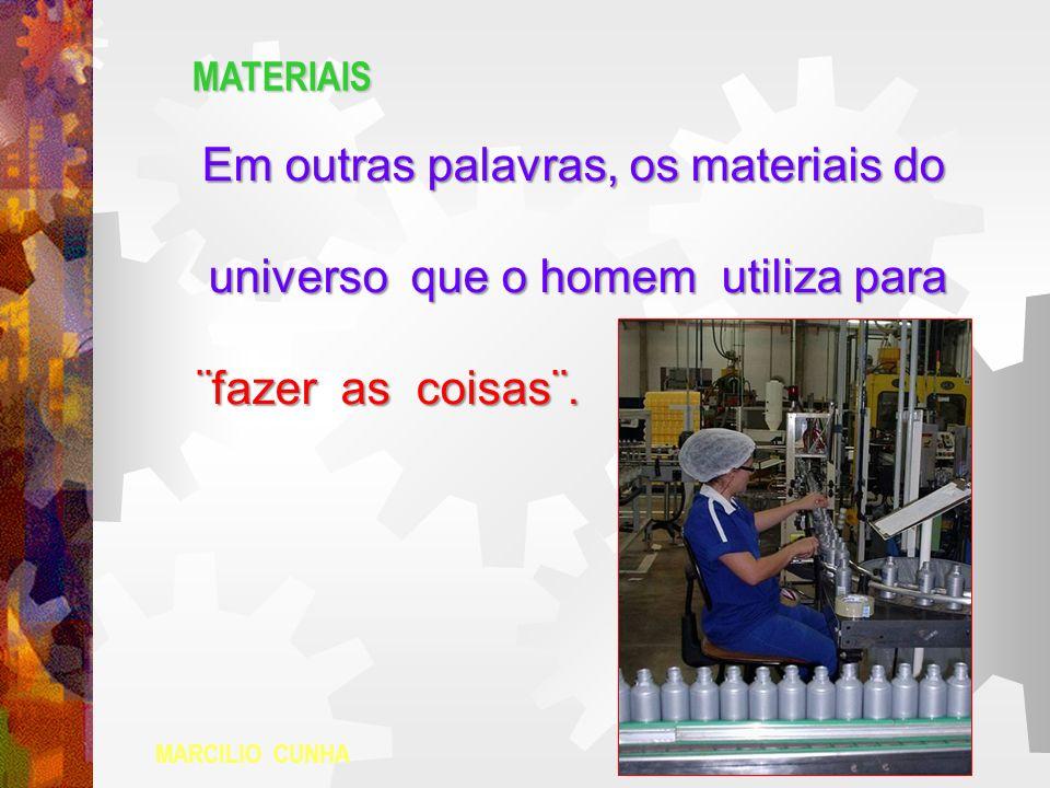 MATERIAIS Em outras palavras, os materiais do Em outras palavras, os materiais do universo que o homem utiliza para universo que o homem utiliza para