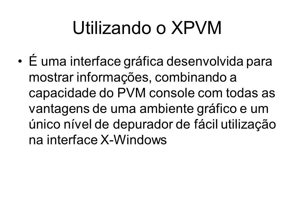 Utilizando o XPVM É uma interface gráfica desenvolvida para mostrar informações, combinando a capacidade do PVM console com todas as vantagens de uma