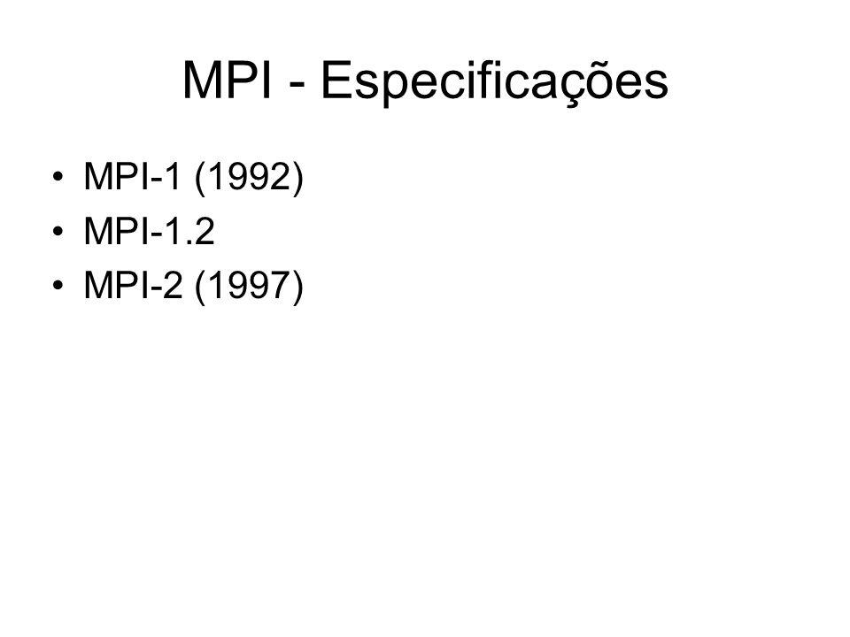 MPI - Especificações MPI-1 (1992) MPI-1.2 MPI-2 (1997)