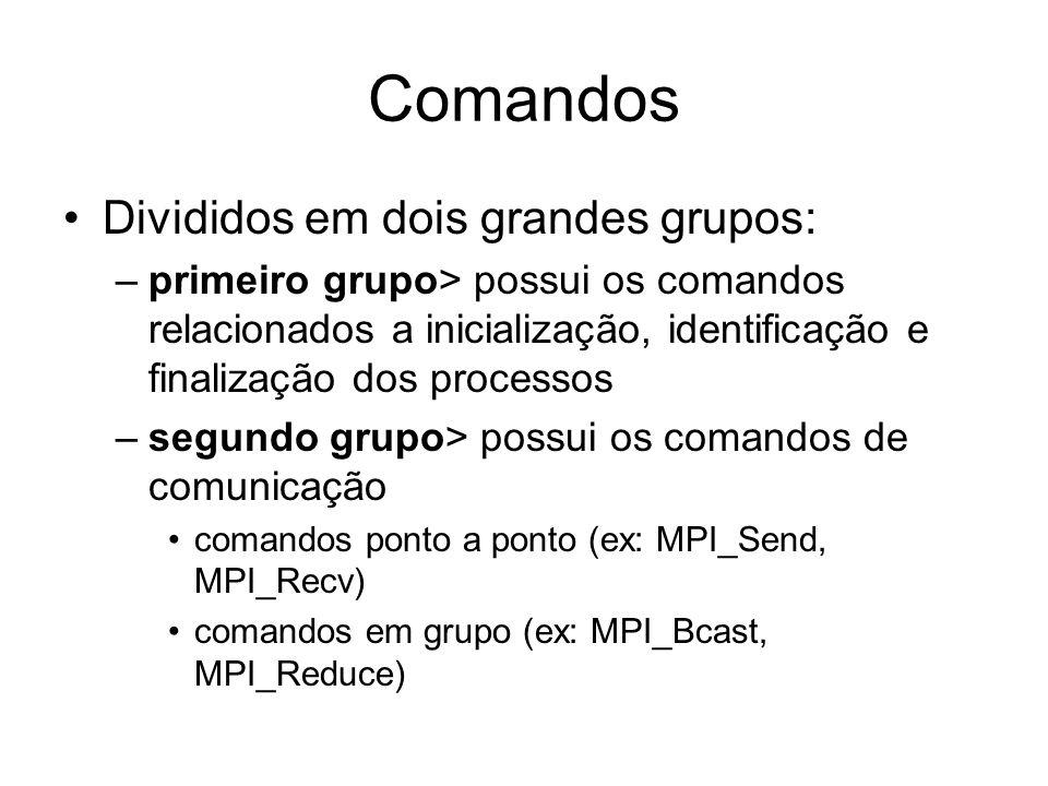 Comandos Divididos em dois grandes grupos: –primeiro grupo> possui os comandos relacionados a inicialização, identificação e finalização dos processos