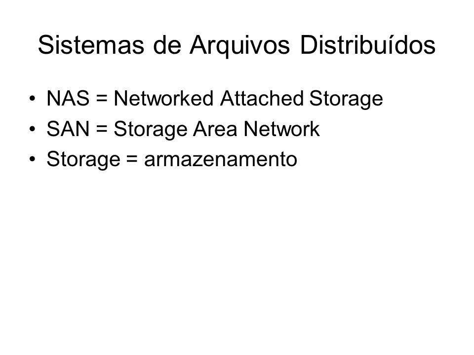 Sistemas de Arquivos Distribuídos NAS = Networked Attached Storage SAN = Storage Area Network Storage = armazenamento