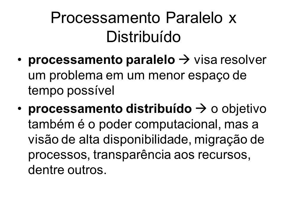 Processamento Paralelo x Distribuído processamento paralelo visa resolver um problema em um menor espaço de tempo possível processamento distribuído o