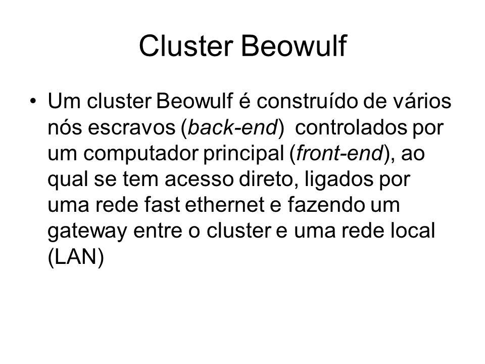 Cluster Beowulf Um cluster Beowulf é construído de vários nós escravos (back-end) controlados por um computador principal (front-end), ao qual se tem