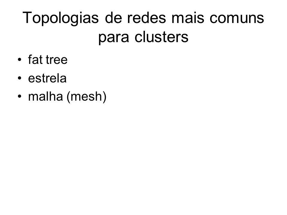 Topologias de redes mais comuns para clusters fat tree estrela malha (mesh)