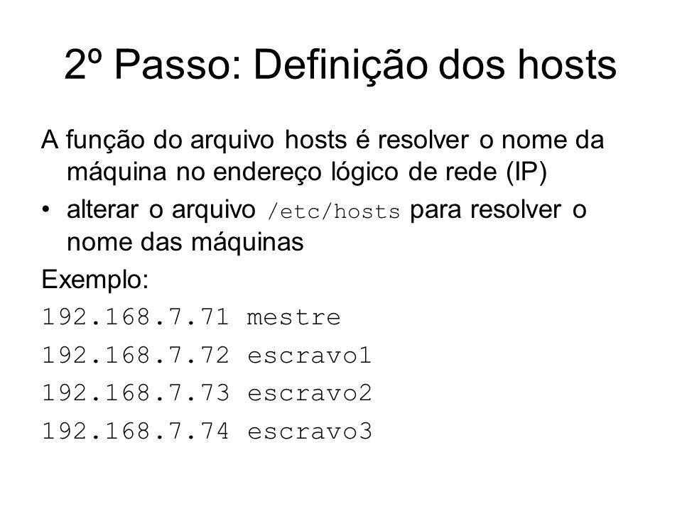 2º Passo: Definição dos hosts A função do arquivo hosts é resolver o nome da máquina no endereço lógico de rede (IP) alterar o arquivo /etc/hosts para
