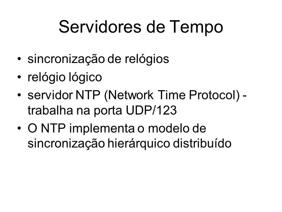Servidores de Tempo sincronização de relógios relógio lógico servidor NTP (Network Time Protocol) - trabalha na porta UDP/123 O NTP implementa o model