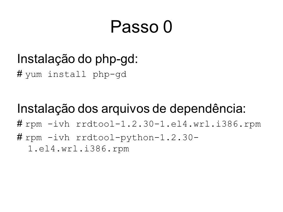 Passo 0 Instalação do php-gd: # yum install php-gd Instalação dos arquivos de dependência: # rpm -ivh rrdtool-1.2.30-1.el4.wrl.i386.rpm # rpm -ivh rrd